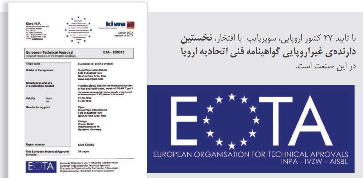 سوپرپایپ گواهینامه اروپا