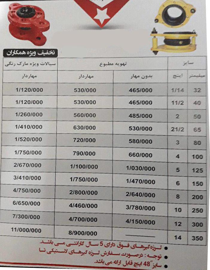 لیست قیمت لرزه گیر ارتعاشات